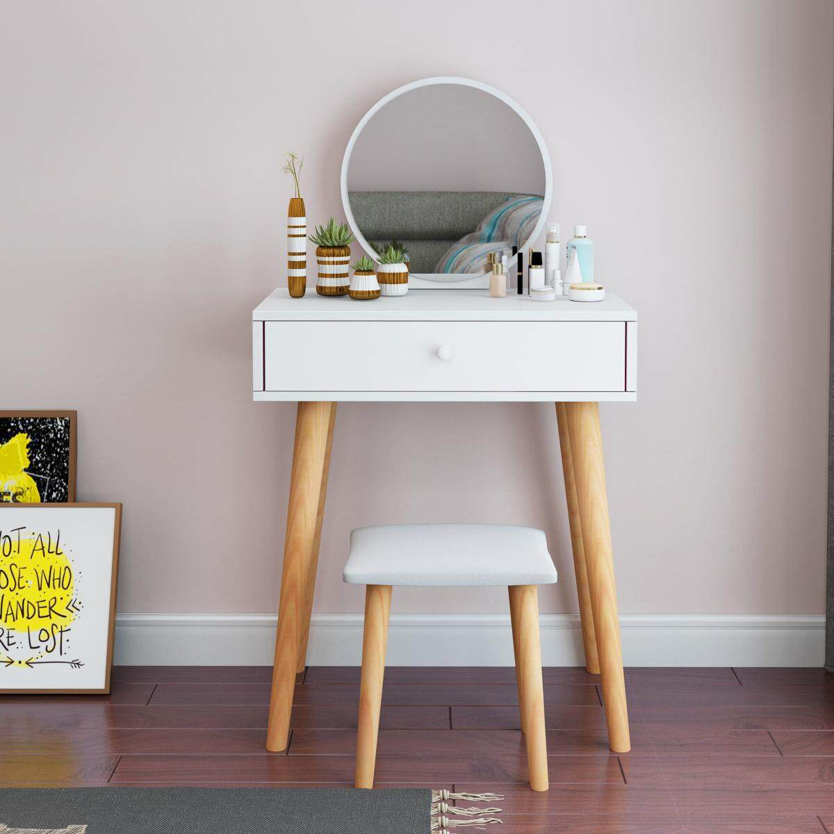 60CM in Width, Dressing Table Solid Wood European Bedroom Dressing Table with Stool, Princess Makeup Cabinet Luxury flip Small Dressing Table. Doubel Drawer