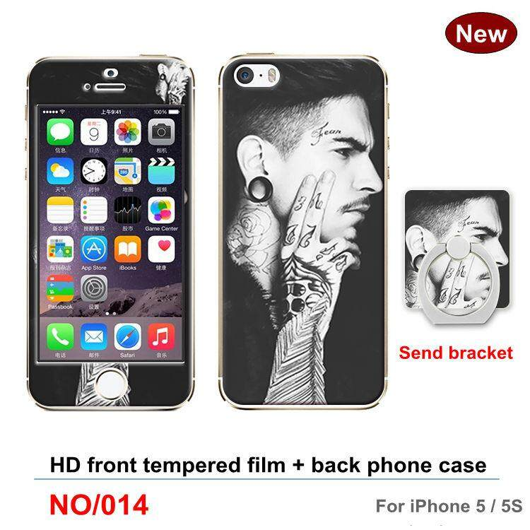 For Apple iphone 5 / 5s Screen Protectors Cartoon 360 Full Degree Cover TPU soft plastic case Phone Case Shockproof Case with iphone 5s Full Tempered Glass ...