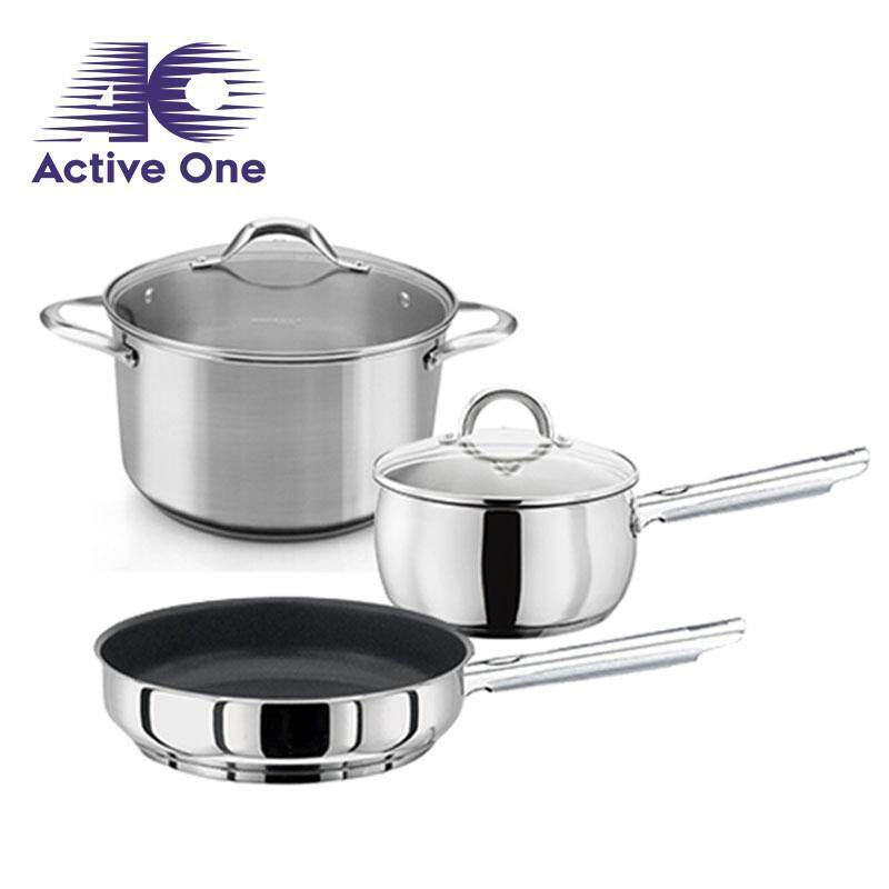 ActiveOne 3-In-1 High Quality All Purpose Tri-Ply Stainless Steel Cookware Set - Fulfilled by ACTIVEONE