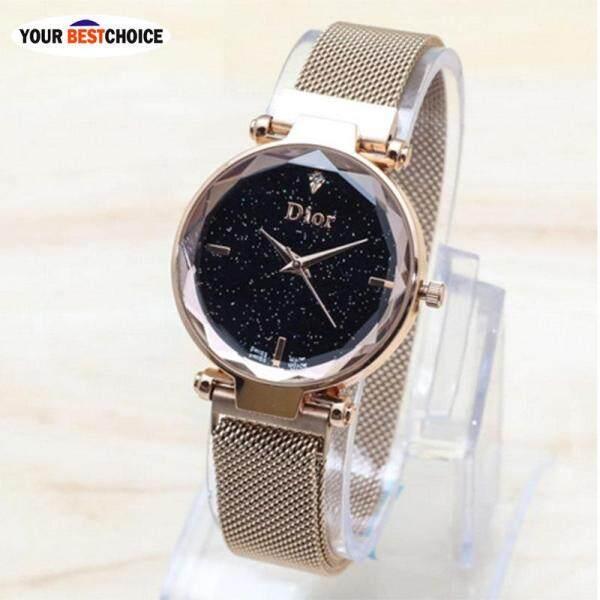 YBC 1 Pcs Women Lady Girl Wrist Quartz Watch Starry Sky Round Dial Luxury Magnetic Buckle Malaysia