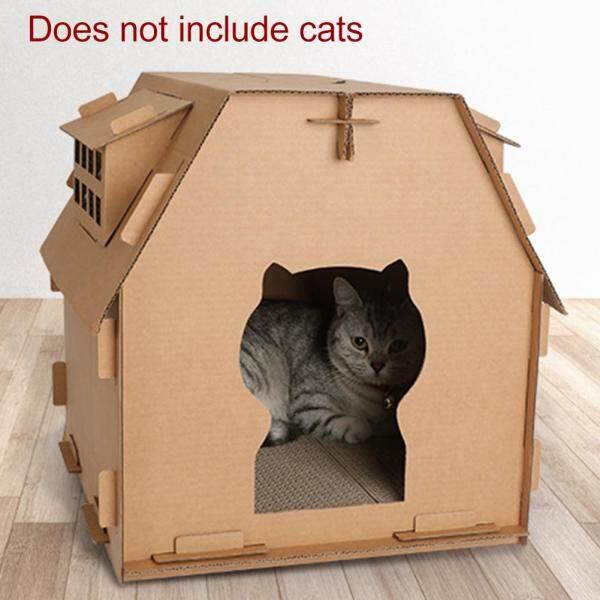 Công Cụ Tự Lắp Ráp Trong Nhà Đồ Chơi Cho Mèo Con Giấy Gợn Sóng Có Cửa Sổ Nhỏ Vật Nuôi Tự Làm Nhà Cho Mèo