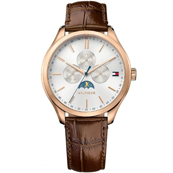 Authentic Tommy Hilfiger Men's Oliver Quartz Multifunction White Dial Leather Watch 1791306 Malaysia