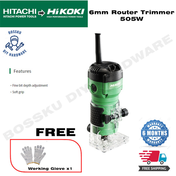 Hitachi Hikoki M6ST Router Trimmer 6.35 or 6mm 505W free working glove (FREE SHIPPING)