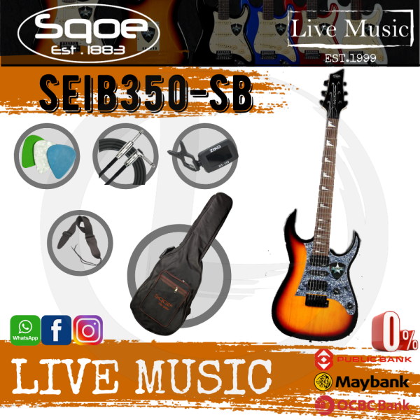 SQOE SEIB-350-SB Ibanez RG Body HSH Electric Guitar Rosewood Fretboard - Sunburst (SEIB350/SEIB 350) Malaysia