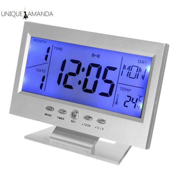 Đồng hồ báo thức điều khiển bằng giọng nói, màn hình LCD 12.5x 5cm, hiển thị nhiệt độ độ ẩm - INTL bán chạy