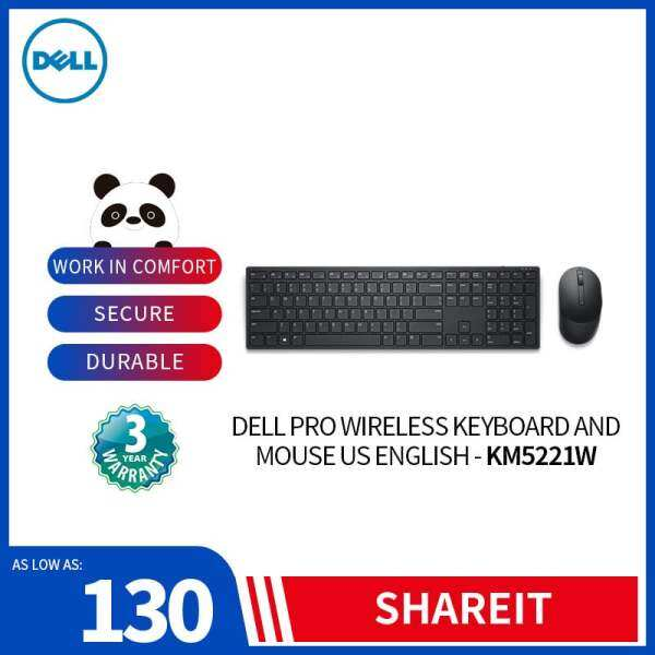 Dell Pro Wireless Keyboard and Mouse US English - KM5221W for Home Student SME Business Office Use Malaysia
