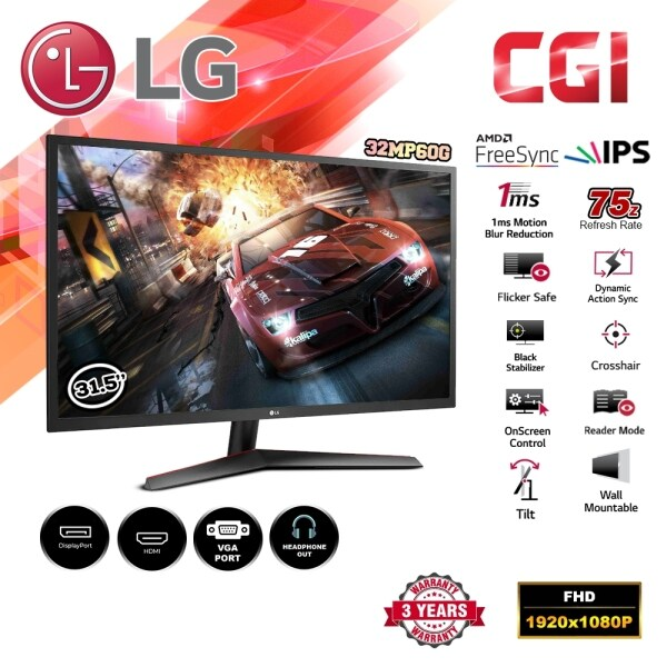 LG 31.5 32MP60G 1ms 75Hz Full HD IPS Display with AMD FreeSync™ Monitor Malaysia