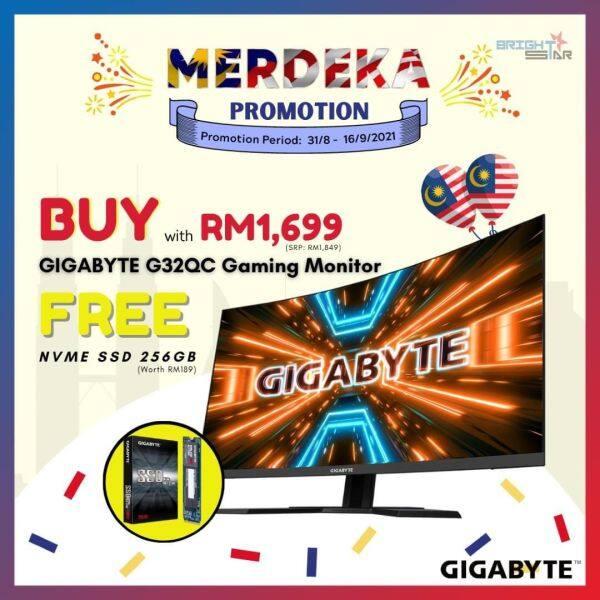 Gaming Monitor Gigabyte G32QC (32 / 2560 X 1440 / VA / 1MS / 350 NITS / DP + HDMI X 2 / 3 Years Warranty ) + FREE GIFT GIGABYTE SSD 256GB / Malaysia