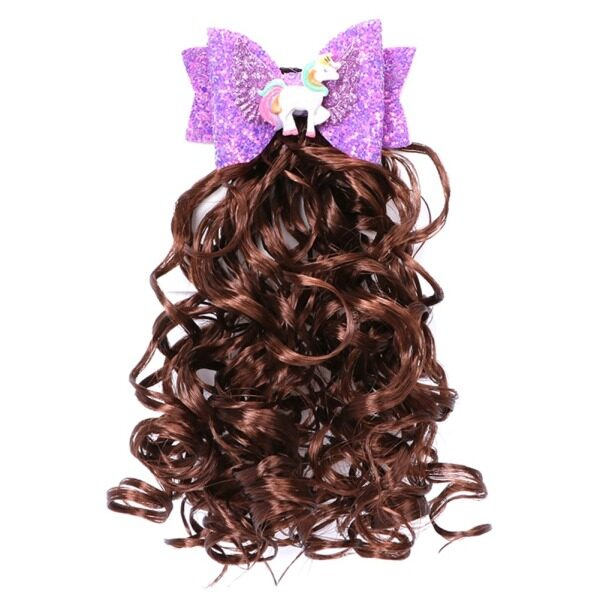 SYS Unicorn Tóc Cung Cho Cô Gái Sequin Net Sợi Clip Dài Xoăn Tóc Giả Hairgrips