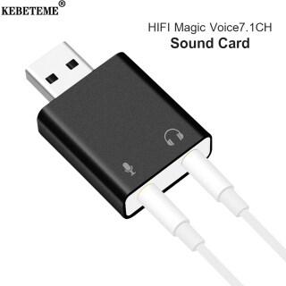 KEBETEME Card Âm Thanh USB Bên Ngoài Bộ Chuyển Đổi Giắc USB Sang 3.5Mm Headphone Mic Adapter, Card Âm Thanh Ảo 7.1 CH thumbnail
