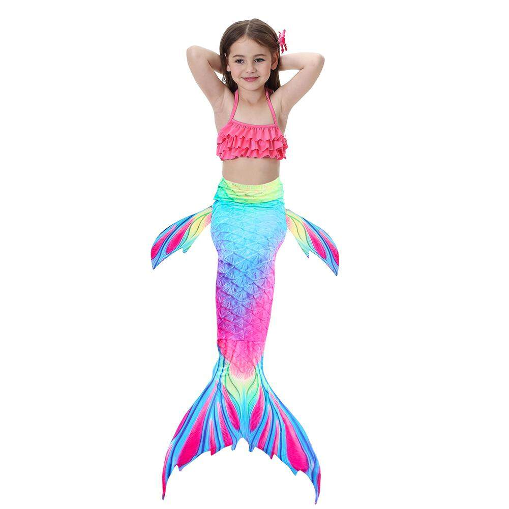 Yaababy 3pcs Set Girls Gradient Color Fish Tails Swimsuit Bikini Sets Beach Cosplay Costume By Yaababy.