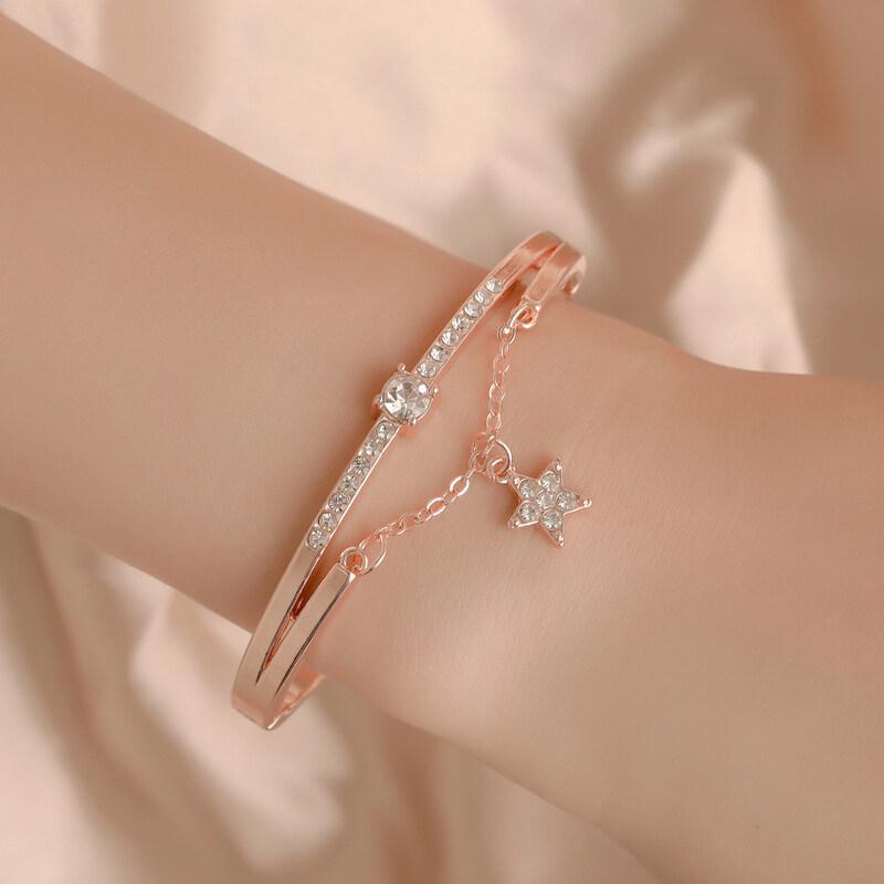 Vòng đeo tay nữ bằng kim loại mặt hình ngôi sao năm cánh đính đá pha lê thời trang màu bạc/vàng hồng dành cho học sinh - FJSL