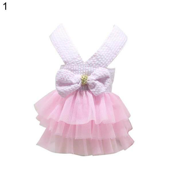 Váy Xòe Cho Thú Cưng Công Viên Vô Tình Đầm Vải Tuyn Kẻ Sọc Thắt Nơ Thời Trang Cho Chó Quần Áo Cho Cún Con Mùa Hè