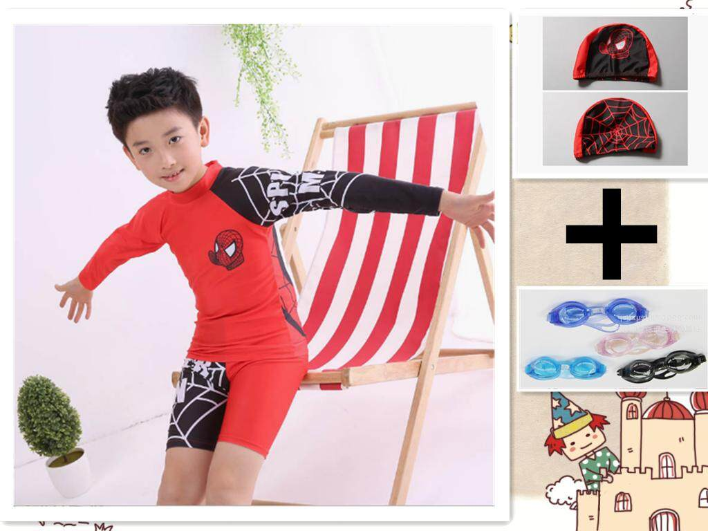 b859501f95 Kid's Swimsuits Baby Bathing Suits Boy Swimsuit For Clothing Rash Guard  Children's Spider man Long Sleeve