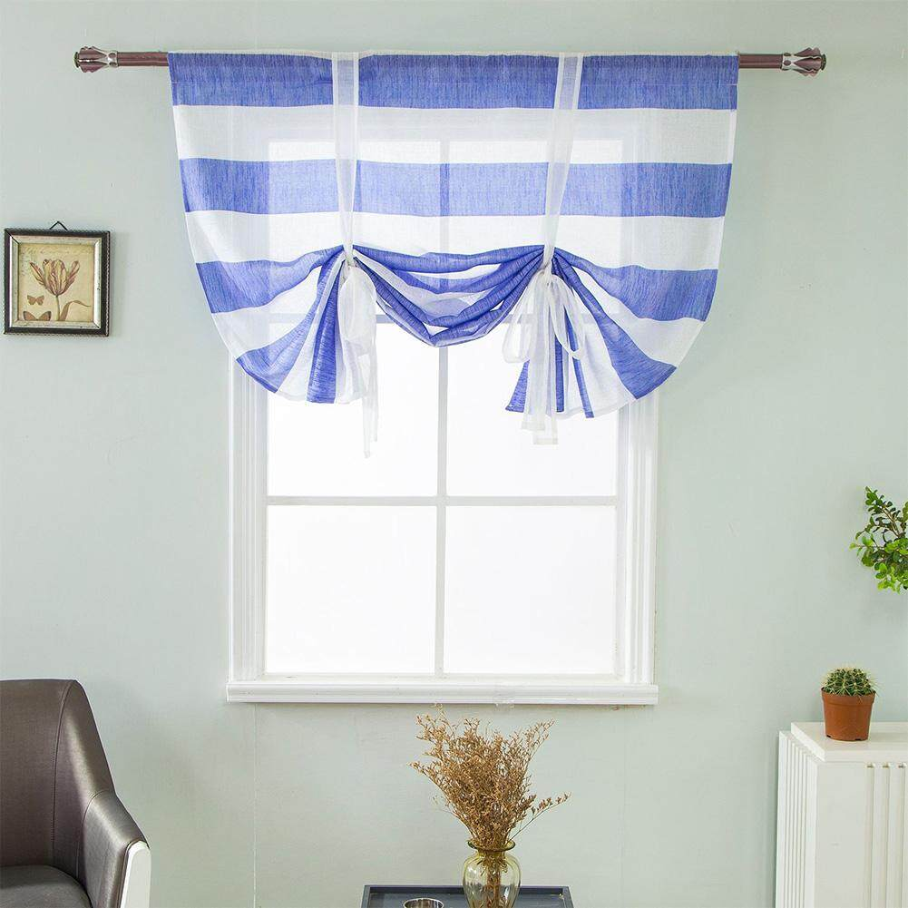 HiQueen Stripes Pattern Shade Valance Curtain for Showcase Window Rod Pocket Panel 46in WX63in L