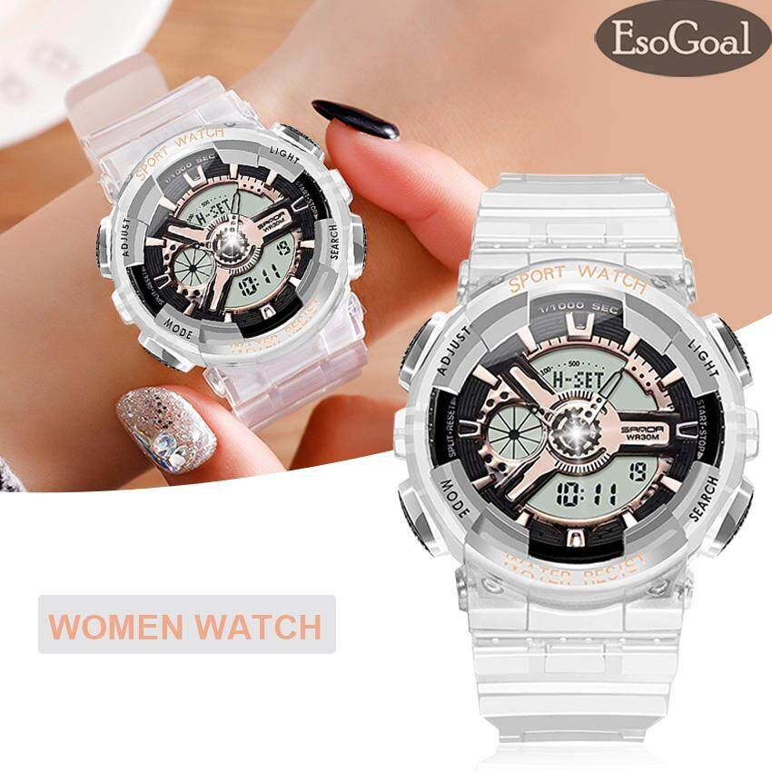 EsoGoal Women Sport Watch Waterproof Luminous Fashion Ladies Watch Digital Dual Display Outdoor Luxury Jelly Strap Watch as a gift for Running, Hiking, Climbing Malaysia