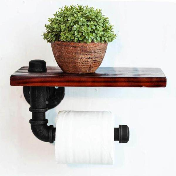 Industrial Style Wall-Mounted Pipe Design Toilet Paper Holder with Barnwood Wood Shelf