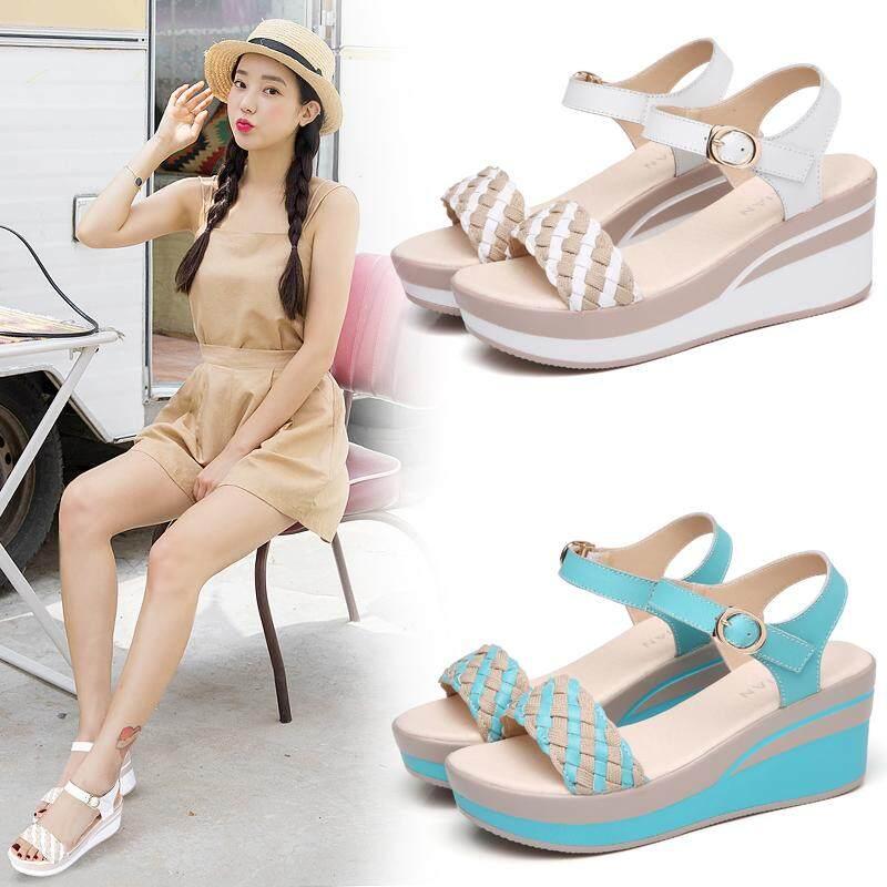 Thời Trang Hàn Quốc Mới Giày Đế Xuồng Chống Nước Nền Tảng Nghề Dệt Khóa Giày Sandal Nữ Đế Dày Đáy O8400