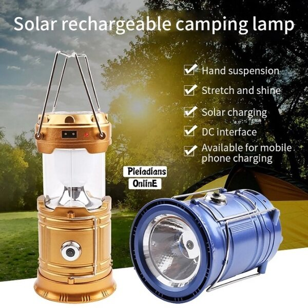 👉READY STOCK👉🇲🇾 Portable Solar Power Rechargeable Lamp Camping Flashlight Retractable Emergency Bulb