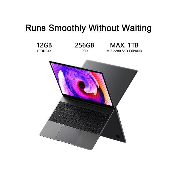 CHUWI GemiBook Laptop PC with 13 inch IPS Display, Windows 10, Intel Celeron J4115 Quad Core Processor, 12GB RAM, 256GB EU charger Malaysia