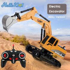 HelloKimi Xe mô hình chơi trẻ điều khiển từ xa 2.4G kỹ thuật quay 360° 1:24 Máy xúc 5CH 6CH nhựa hợp kim điện – INTL
