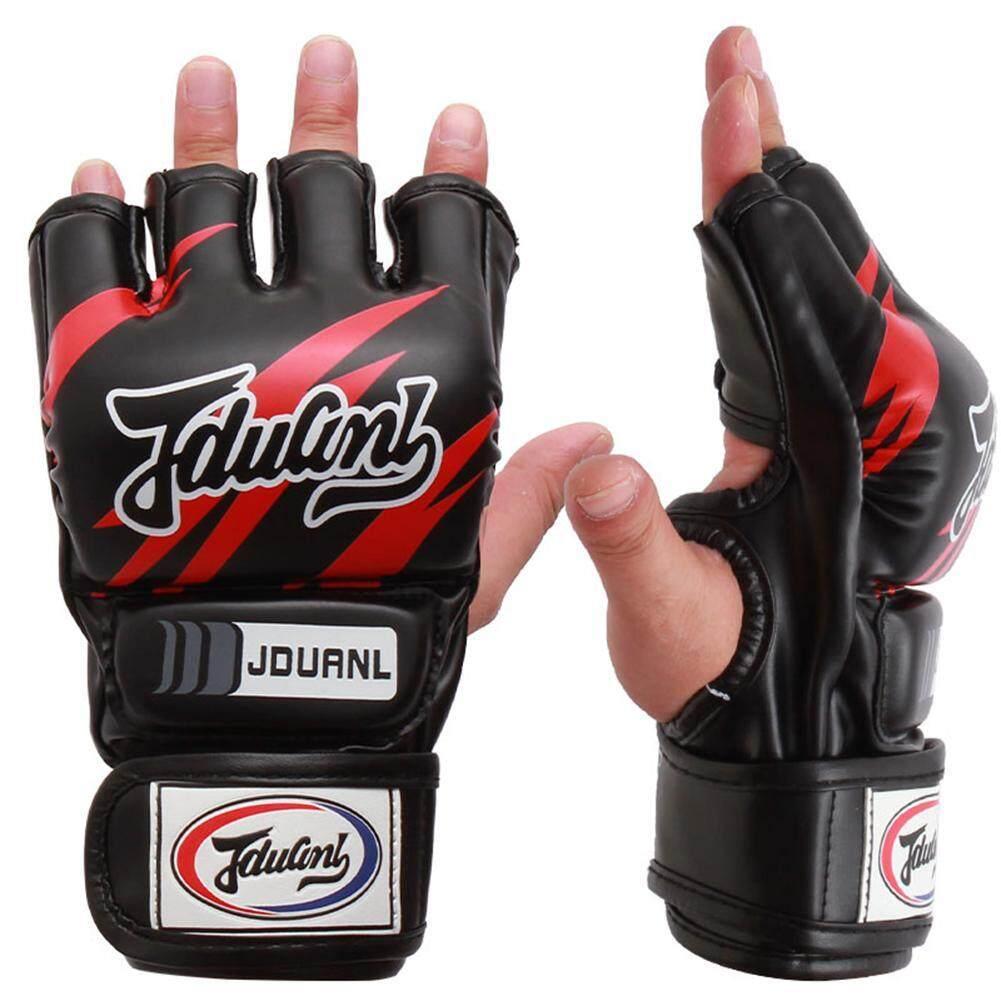 Jduanl ถุงมือครึ่งนิ้วผู้ใหญ่มวยไทยมวยถุงมือ Mma ต่อสู้เจาะถุงมือ By Highfly365.