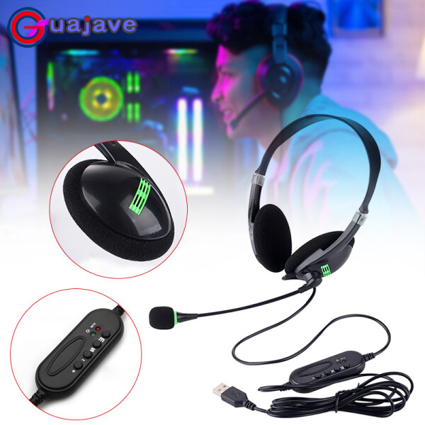 Guajave USB Headset Computer Headphone with Microphone Noise Cancelling Lightweight Office Business Headset