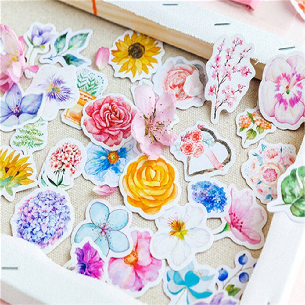 45PC Paper Crafts DIY Diary Decor Flower Stickers Scrapbooking Stationery Supply