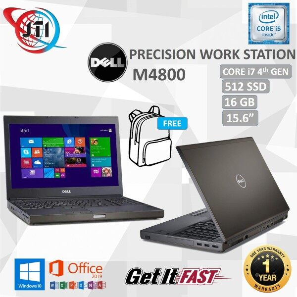 Dell Precision M4800 WORKSTATION -  Intel Core i7-4th GEN / 16 GB RAM / 512 GB SSD / 15.6 INCHES SCREEN / WINDOWS 10 PRO / REFURBISHED Malaysia
