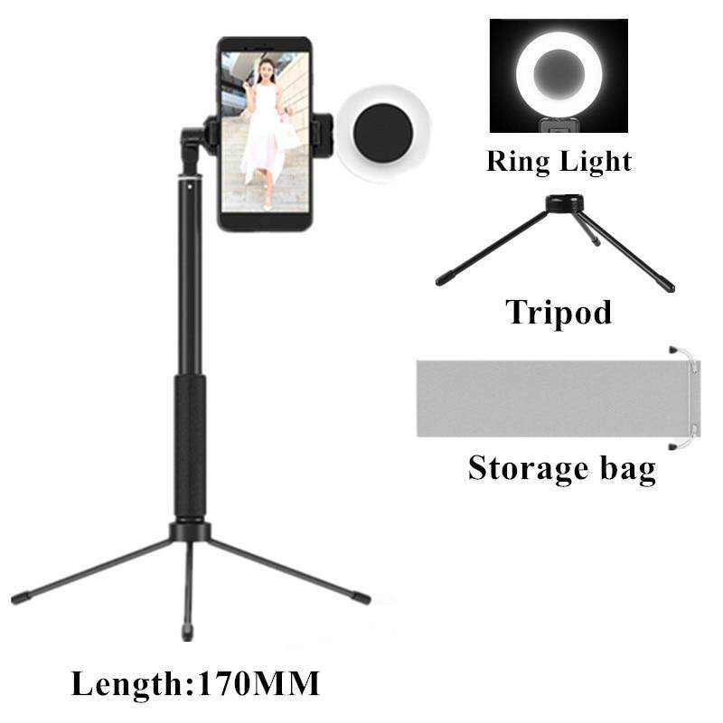 1.7m Extendable Live Tripod Selfie Stick Led Ring Light Stand 4 In 1 With Monopod Phone Mount For Iphone X 8 Android Smartphone By Verycool.