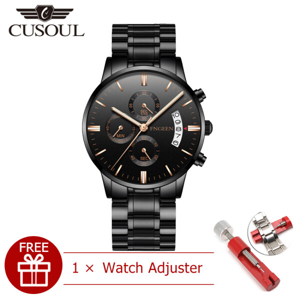 Cusoul Men Casuals Fashion Watches Quartz Watches Casual Wristwatches 30M Waterproof Watches Calendar Watches Stainless Steel Luminous Pointer Tempered Mirror Wrist Watches for Men Malaysia