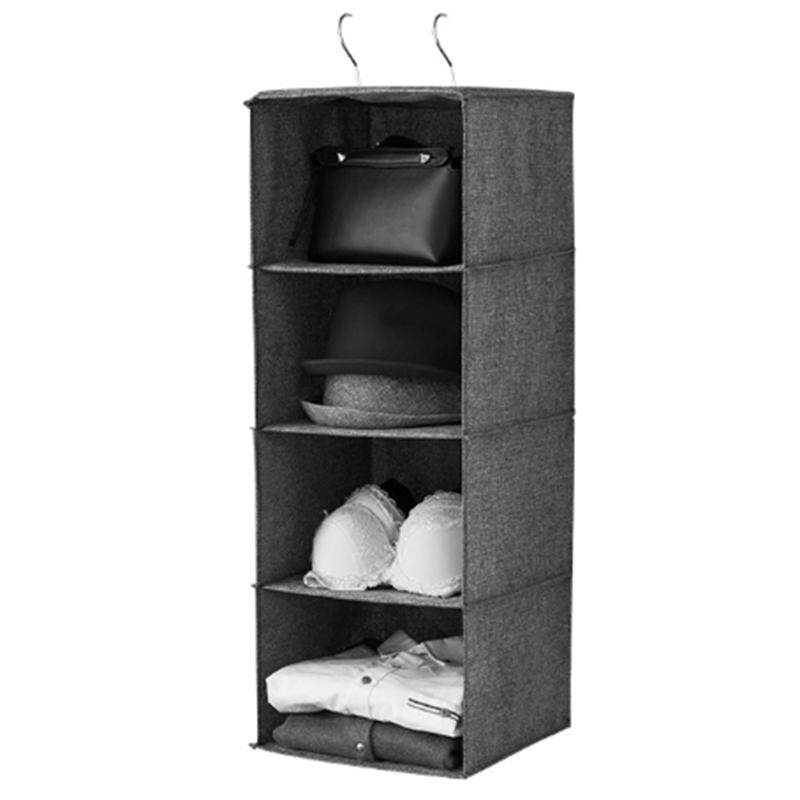 4-Layer Cotton And Linen Wardrobe Hanging Foldable Storage Bag For Underwear Socks Clothing Multifunctional Clothes Hangers Holder Portable Storage Box