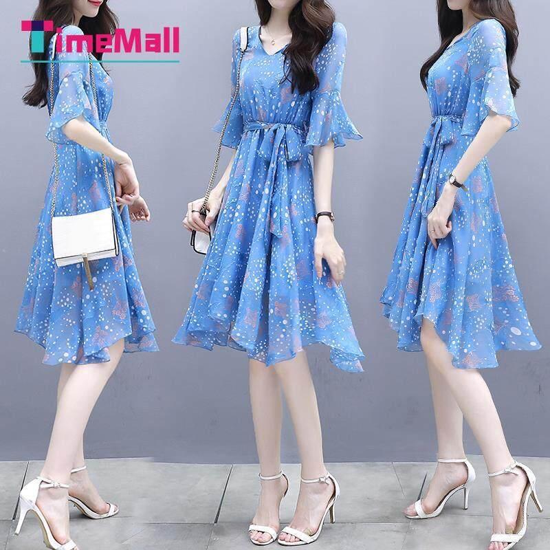 Giá bán Timemall Phụ Nữ Váy Cổ Chữ V Mỏng Nữ Thanh Lịch Chấm Bi Hoa Ngắn Tay Áo Loe Dài Vừa Ruy Băng