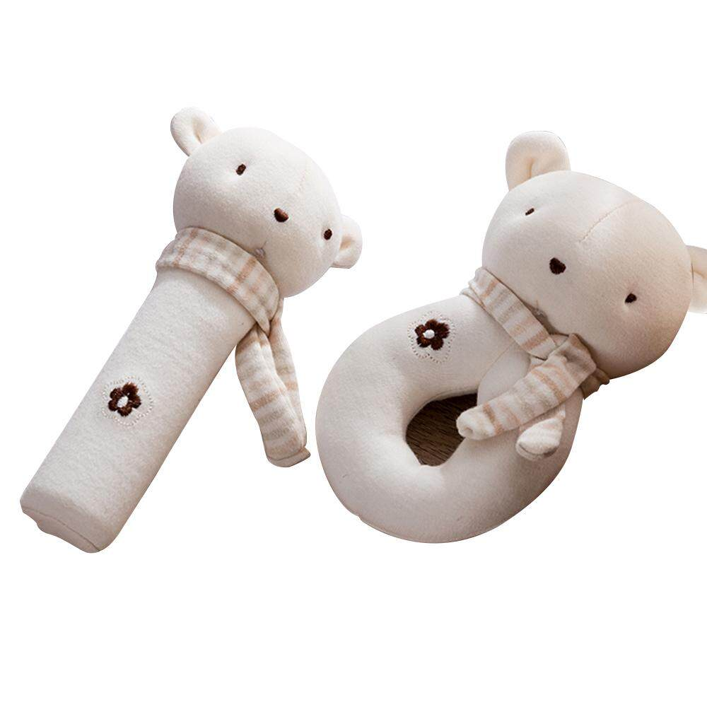 2pcs Baby Rattle Squeaky Toy Plush Soft Hand Bell Set Cartoon Stuffed Animal Educational Activity Toys Bear By Tomtop
