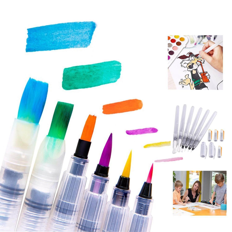 Mua 6 Màu Nước Bàn Chải Bút Đầu Nhọn Và Phẳng Đầu có Mực Lưu Trữ Nòng Mực Tranh Bàn Chải Nghệ Thuật Tiếp Tế cho sinh viên Nghệ Sĩ