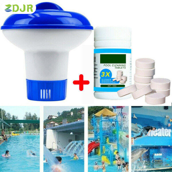 ZDJR Pool Cleaning Floating with 100pcs Purifier Tablets Swimming Pool Chlorine Dispenser Kit