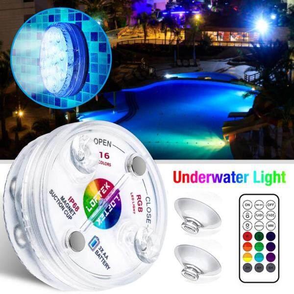 Viugreum Đèn LED Không Thấm Nước Điều Khiển Từ Xa Chìm Được Dưới Nước Ánh Sáng Với Giác Hút AO Đèn Hồ Bơi