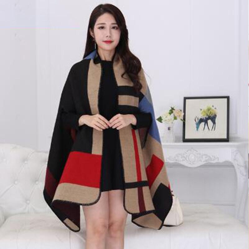 Giá bán Jollic Phụ Nữ Khăn Quàng Cổ Mùa Đông Ấm Hơn Khăn Choàng Nữ Kẻ Sọc Chăn Đan Bọc Áo Choàng Poncho