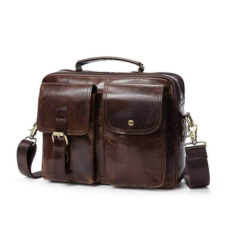 100% genuine leather briefcase bag for man bags cow leather water proof shoulder bag multi compartment handbag for work