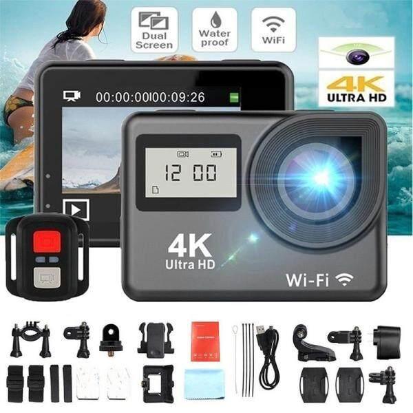 Giá Máy Quay Hành Động Thể Thao Hanlu 4K 1080P HD 2 Màn Hình Kép DV WiFi Chống Nước Như Go Pro UK
