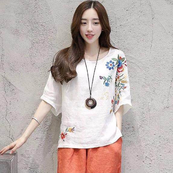 d35c76de COCOEPPS 2019 Female New Vintage Embroidered Short-sleeved Joker T-shirt