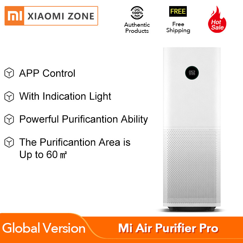 [Global Version] XIAOMI Mi Air Purifier Pro OLED Display, Smart Mi Home App Control, New Aerodynamic Pressure System, Laser Particle Sensor, Temperature & Humidity Sensor, 3 Color Indicators, Carbon Filter (White) for Home Singapore