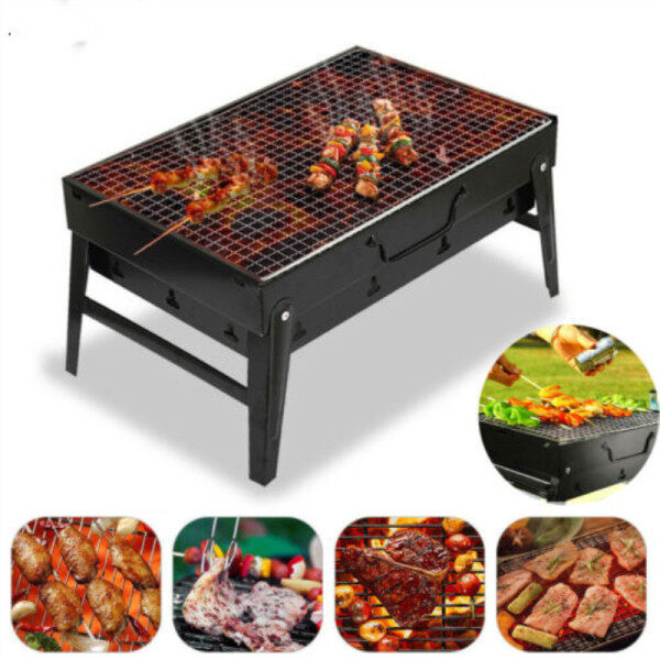 Portable BBQ Barbecue Grill Briefcase Folding Camping Charcoal Stove Outdoor Kitchen Cooking Accessories Cookware