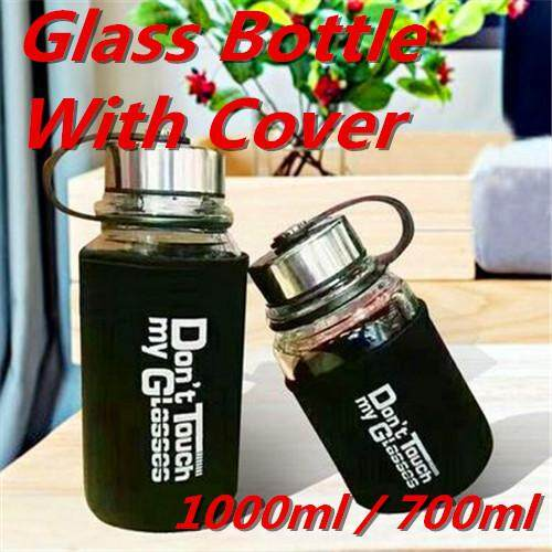 Glass Drinking Bottle Water Container Clear Body Drink Cup 1000ml / 700ml By Cycling Gadgets..
