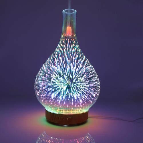 TRÊN 100 ml Kính Xông Phòng Máy Phun Sương Tạo Ẩm Khuếch Tán Tinh Dầu Siêu Âm Thanh Máy Phun Sương Tạo Độ Ẩm 3D Thơm Đèn Ngủ Tinh OilHumidifier