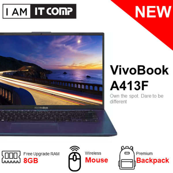 (NEW BUNDLE) Asus Vivobook 14 A413F A413F-PEK169TS/PEK170TS 14 FHD Laptop (i5-10210U/4GB/512GB/MX330 2GB/W10) Free upgrade to 8GB RAM, Wireless mouse and Backpack Malaysia