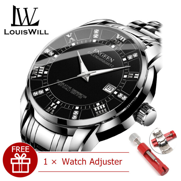 LouisWill Men Casuals Fashion Watches Quartz Watches Wristwatches 30M Waterproof Watches Classic Roman Numeral Diamond Dial Calendar Casual Stainless Steel Belt Luminous Pointer Wrist Watches for Men Malaysia