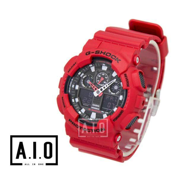 [100% Original G SHOCK]Casio G-Shock Standard Analog Digital Red Resin Matte Finish Watch GA100B-4A GA-100B-4A (watch for man / jam tangan lelaki / casio watch for men / casio watch / men watch / watch for men) Malaysia