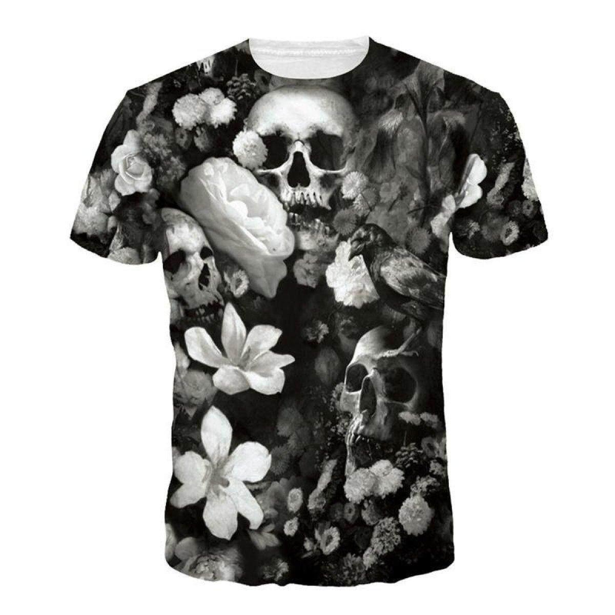 Jiayiqi Summer Casual Punk Floral Tee Shirt Clothes Fashion 3D Skull Print T -Shirts -