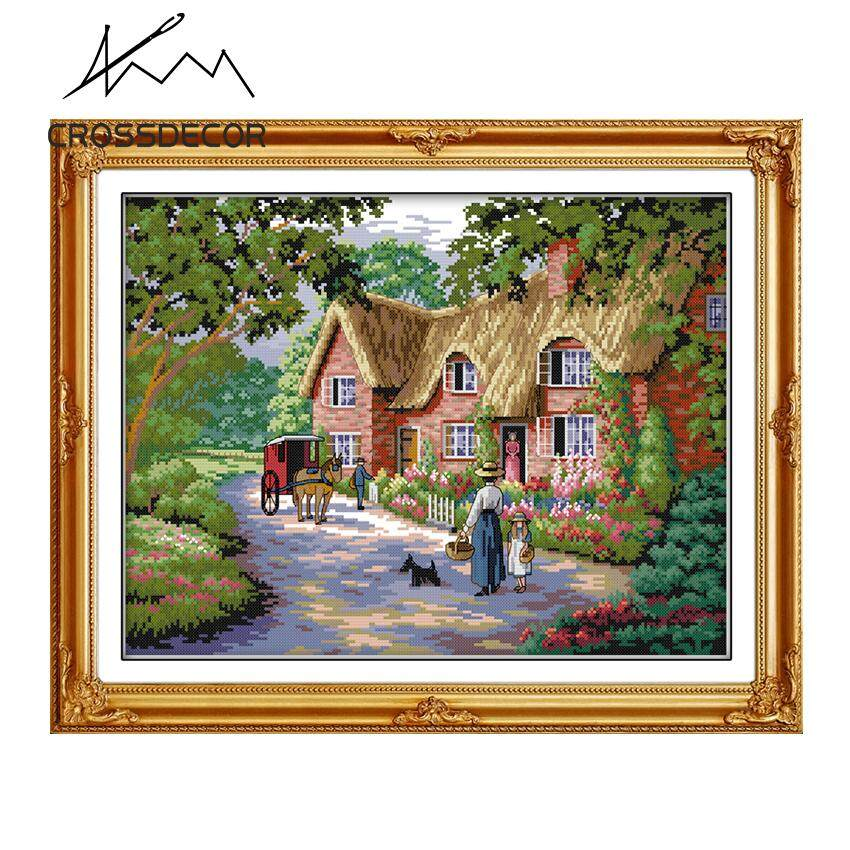 Stamped Cross Stitch Set Needlework DMC Embroidery Kit DIY Handmade 11CT Scenery Pattern Life in Countryside Living Room Home Décor Picture